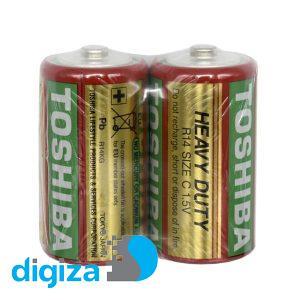 باتری متوسط R14 توشیبا مدل Heavy Duty بسته 2 عددی