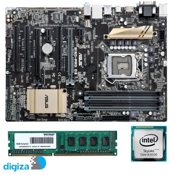 مادربرد ایسوس مدل B150-PRO D3 به همراه پردازنده اینتل مدل 6100 و رم DDR3 1600MHZ پاتریوت ظرفیت 4 گیگابایت