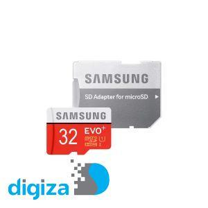 کارت حافظه سامسونگ microSDXC  مدل Evo Plus کلاس 10 استاندارد UHS-I card سرعت 80MBps ظرفیت 32 گیگابایت به همراه آداپتور SD