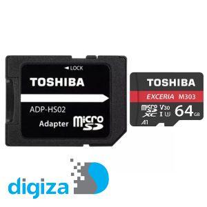 کارت حافظه microSDXC توشیبا مدل M303 کلاس 10 استاندارد UHS-I U3 سرعت 98MBps ظرفیت 64 گیگابایت به همراه آداپتور SD