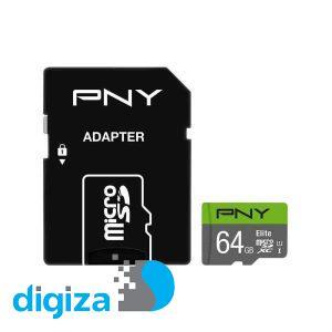 کارت حافظه microSDXC پی ان وای مدل Elite کلاس 10 استاندارد UHS-I U1 سرعت 100MBs ظرفیت 64 گیگابایت به همراه آداپتور SD