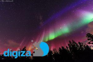 پرچمی برافراشته از نور در آسمان سوئد