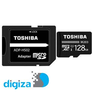 کارت حافظه microSDXC توشیبا مدل M203 کلاس 10 استاندارد UHS-I U1 سرعت 100MBps ظرفیت 128 گیگابایت به همراه آداپتور SD