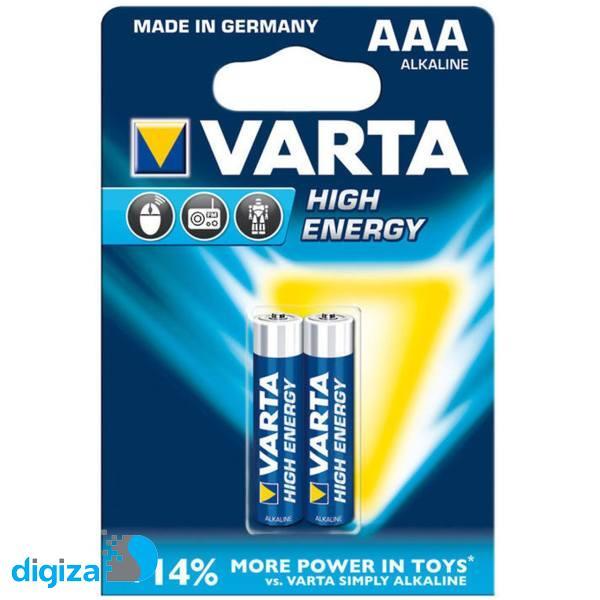 باتری نیم قلمی وارتا مدل High Energy Alkaline LR03AAA بسته 2 عددی