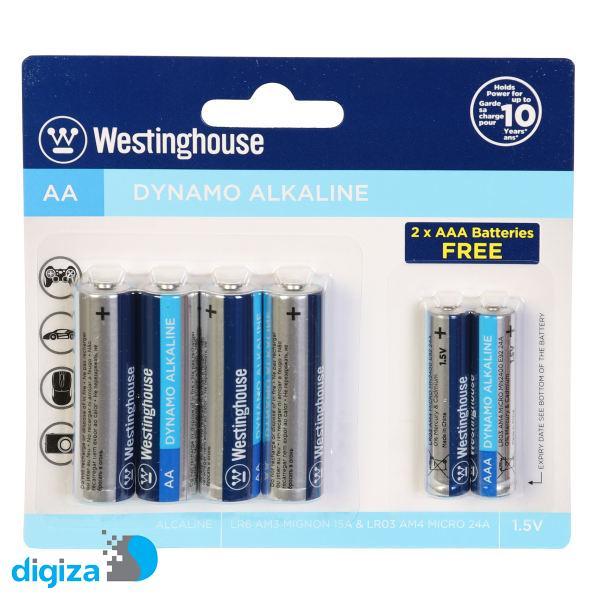 باتری قلمی و نیم قلمی وستینگهاوس مدل Dynamo بسته 6 عددی