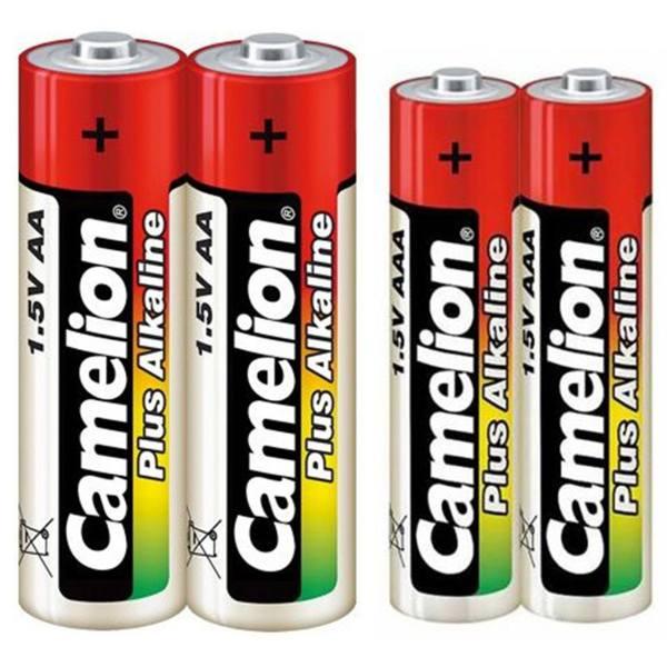 باتری قلمی و نیم قلمی کملیون مدل Plus Alkaline بسته 4 عددی