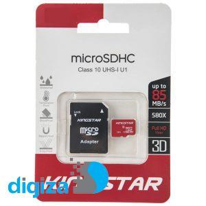 کارت حافظه microSDHC کینگ استار کلاس 10 استاندارد UHS-I U1 سرعت 85MBps همراه با آداپتور SD ظرفیت 16 گیگابایت